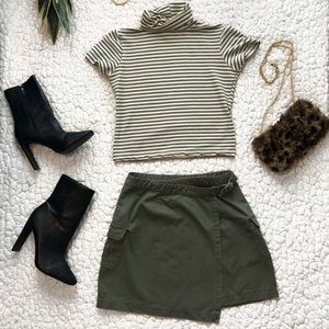 Olive cargo skirt